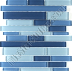 Linear Glass Tile Zm056 Blue Blend Glass Tile Linear Strips Sticks Mosaic Glossy