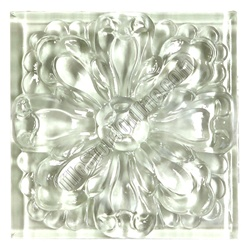 Glass Tile Relief Deco 4 X 4 Large Glass Flower Deco