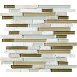 Eclipse Allure Linear Strip Sticks Of Natural Stone And Glossy Glass Tile