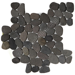 River Rock Pebble Stone Mosaic Bali Black Interlocking
